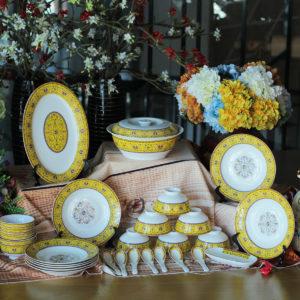 Bộ đồ ăn Sứ Xương Cao Cấp 36 Món Hoa Văn Cách Điệu Viền Vàng