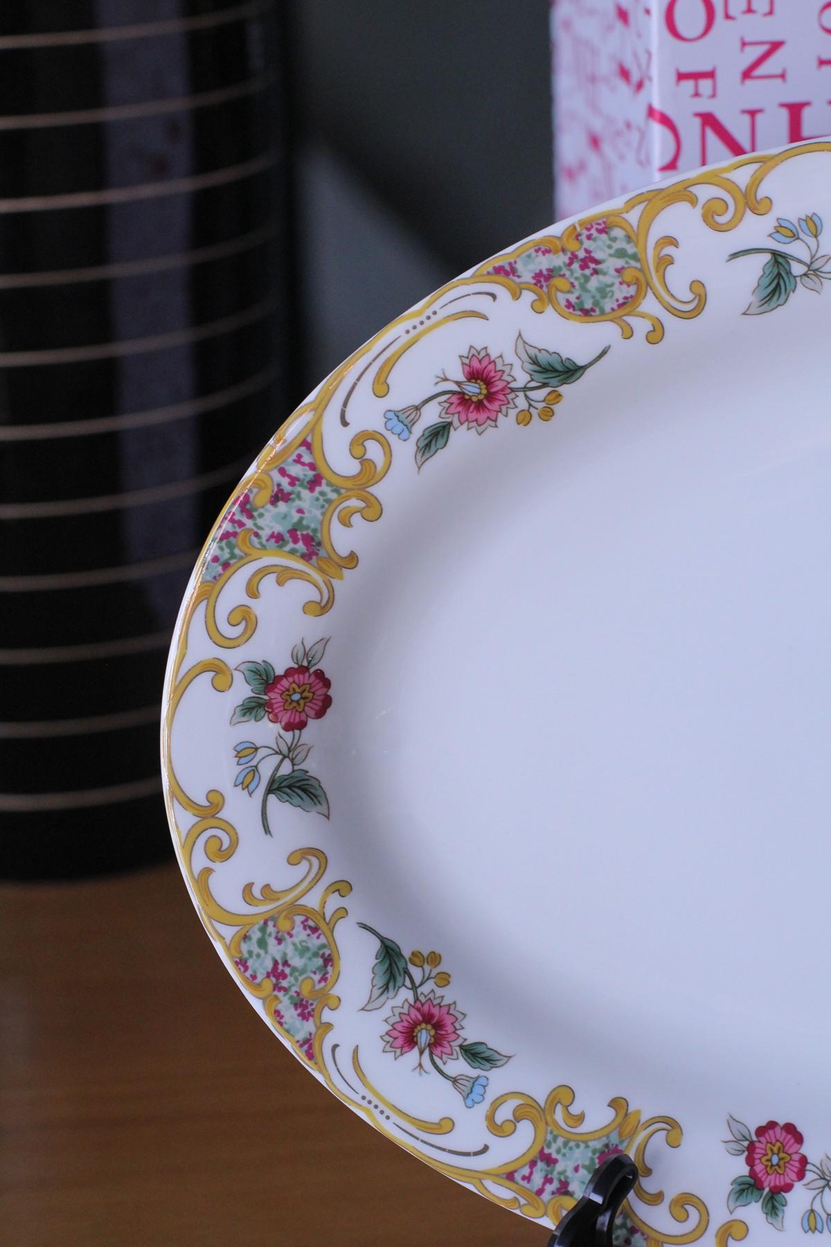 Bộ đồ ăn Sứ Xương Cao Cấp 56 Món Hoa Văn Viền Hoa Đồng Nội Xanh