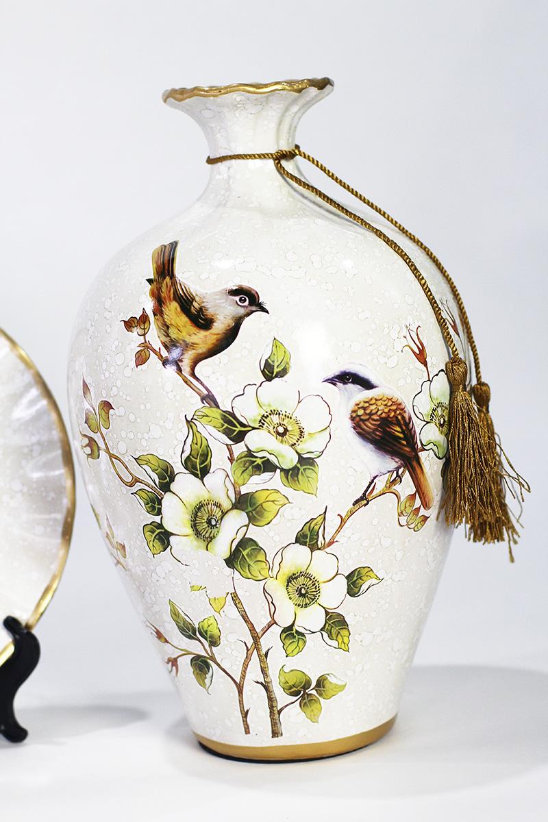 Bộ Bình Sứ Trang Trí 2 chú chim
