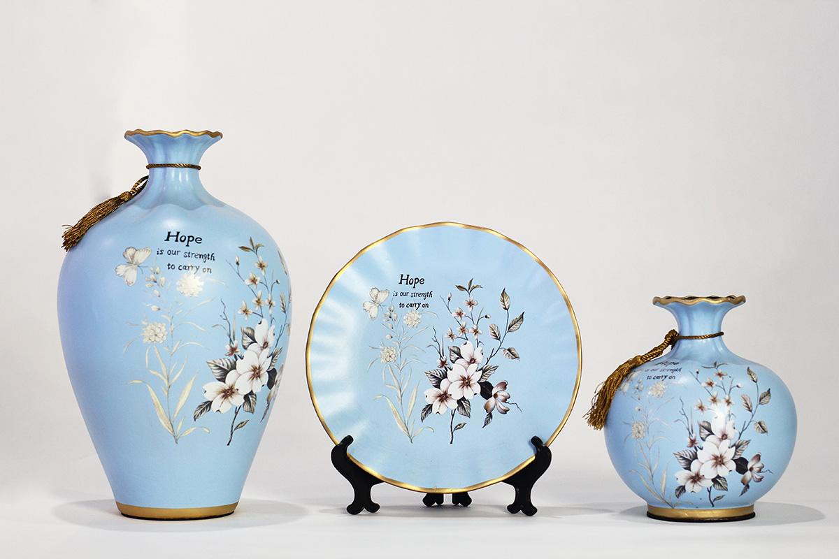 Bộ Bình Sứ Trang Trí Nhánh Hoa Vintage