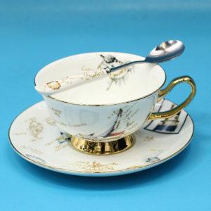 Tách uống trà sứ xương Châu Âu hoa văn biển