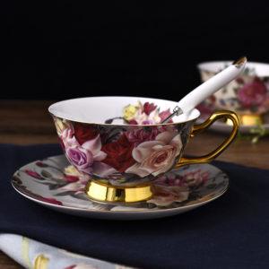 Tách uống trà sứ xương phong cách Vintage Hoa Hồng