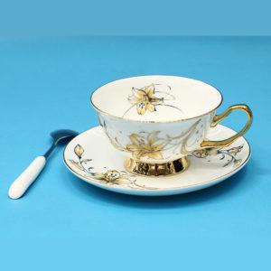 Tách uống trà sứ xương Châu Âu Nhành Hoa